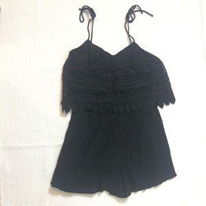 Topshop Pants - Topshop Black Lace Romper Tie Strap Size 6